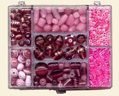Small Jewellery Bead Mix - Pink