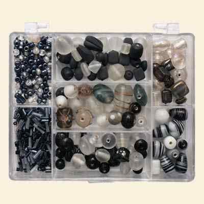 Small Jewellery Bead Mix - Black & White