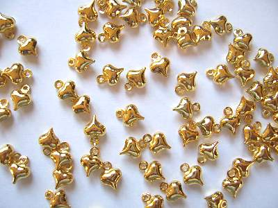 Puff Heart Gold Plated Charms x10