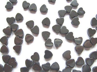 Haematine 6mm Flat Heart Beads x10