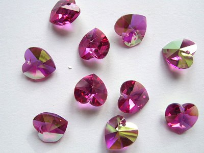 Fuchsia 10mm Swarovski Cut Glass Heart Pendant x1