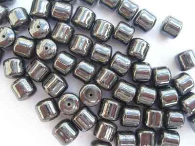 Haematine 6mm Fat Drum Beads x10