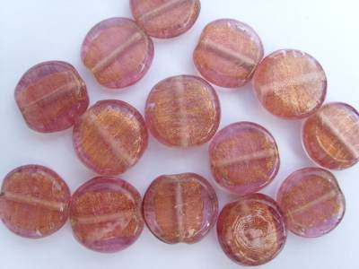 Flat Disc Gold Pink Bead x1