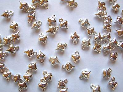 Puff Heart Charms Silver Plated x10