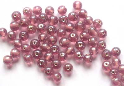 Round Lustred 5mm Cranberry Pink x20