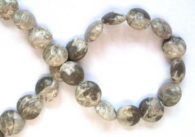 Grey Coral Coin Bead x1