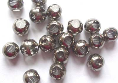 Faceted Round Silver Bead x5