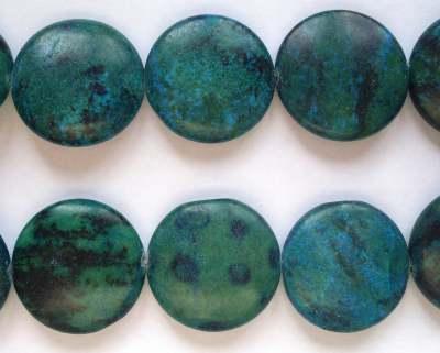 Howlite Dyed Chrysocolla Coin Bead x1