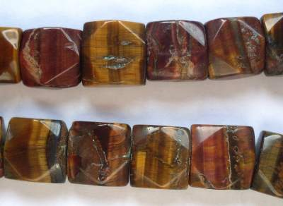 Tiger Eye Faceted Square Bead x1