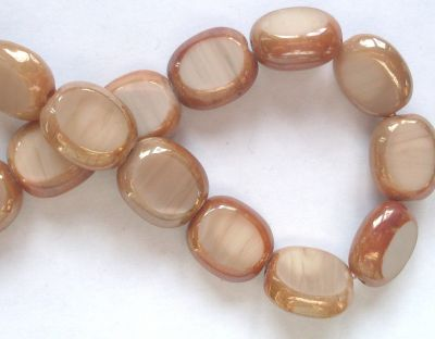 Opaque Oval Edged Beads Coffee Blush  x1