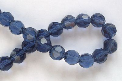 10mm 32 Facet Glass Beads Blue x4