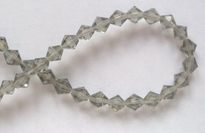 6mm 16 facet Glass Bicone Beads Black Diamond x10