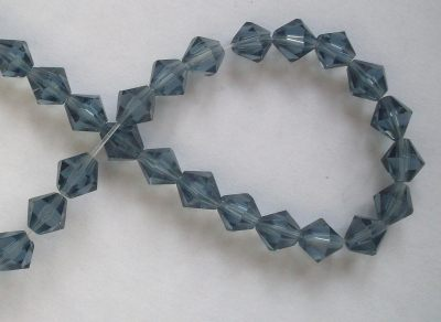6mm 16 facet Glass Bicone Beads Blue x10