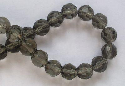10mm 32 Facet Glass Beads Black Diamond x5