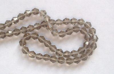 4mm 16 facet Glass Bicone Beads Black Diamond x10