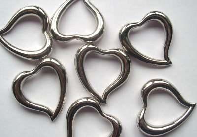 Large Silver Metal 35mm Heart Pendant x1