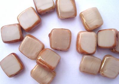 Opaque Square Edged Beads Coffee Blush x1