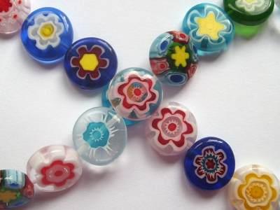 Millefiori 12mm Flower Disc Bead x1