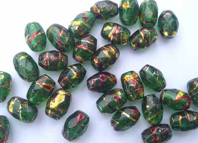 Oval 8x11mm Faceted Green Gold x10