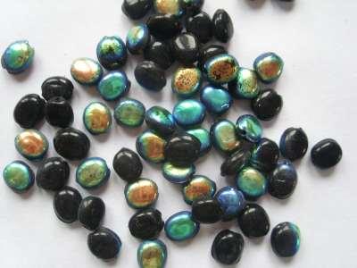 Matt AB 7x6mm Flat Beads Black x10