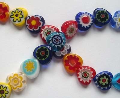 Millefiori 12mm Heart Beads x10