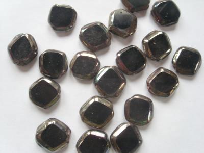 Opaque Edged Diamond Beads Black x1