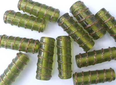 Tube Bead with Gold Twist 28x12mm Olive x1