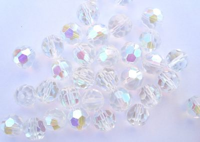 10mm 32 Facet Glass Beads Crystal AB x5
