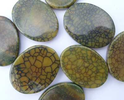 Fire Agate Burnt Mustard Large Oval x1