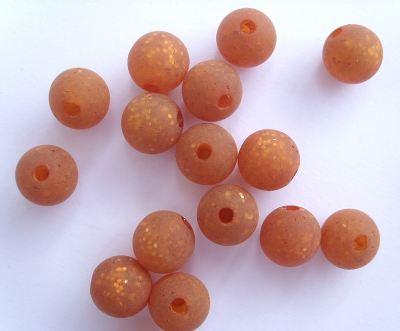 8mm Round Resin Bead Ginger/Golden Sheen x1
