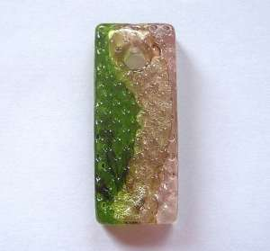 Oblong Glass Pendant (Gold/Green) x1