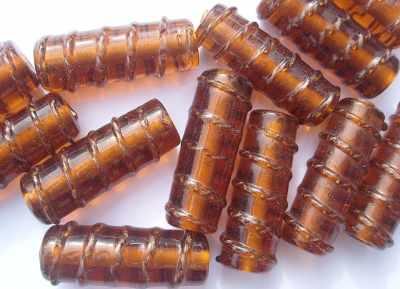 Tube Bead with Gold Twist 28x12mm Topaz x1