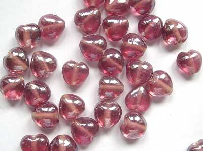 Lustred Cranberry 13mm Hearts x10