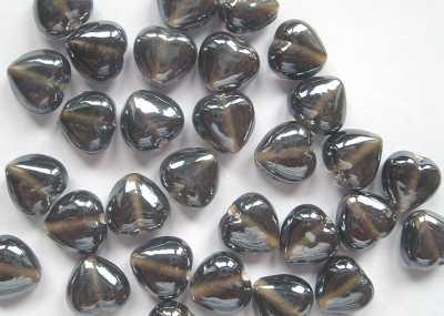 Lustred Black Diamond 13mm Heart Beads x10