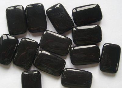 Black Onyx/Agate 30x20mm Rectangle Bead x1