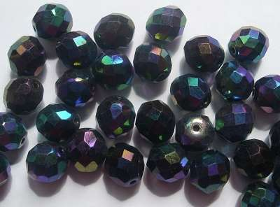 10mm 32 Facet Glass Beads Scarabe x5