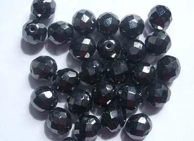 10mm 32 Facet Glass Beads Haematite x5