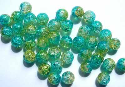 Crackle Glass 8mm Round Green x6