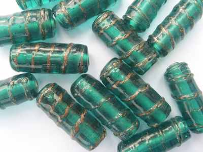 Tube Bead with Gold Twist 28x12mm Green Turquoise x1