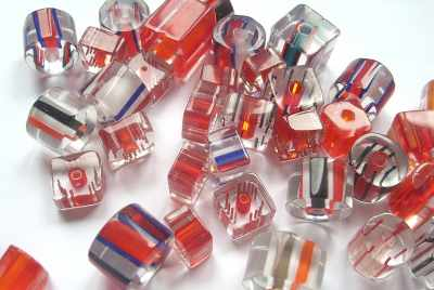 Red Cane Glass Bead Mix x25g
