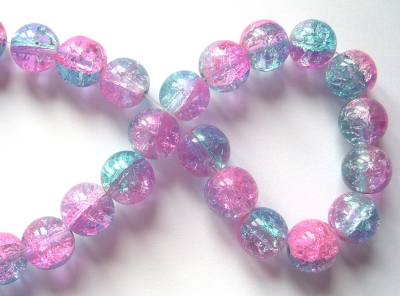 Crackle Glass 12mm Round Pink/Blue x1