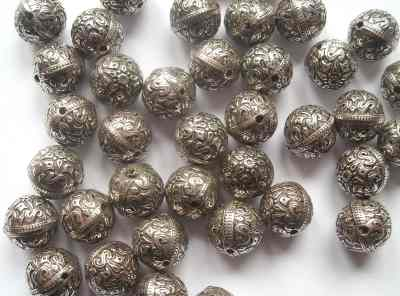 Round Star Beads Antique Silver x10
