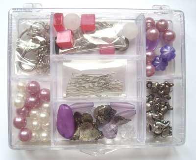 Bag Charm Jewellery Making Kit - Pink & Purple