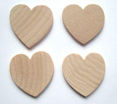 Wood 38mm Heart Craft Shape x1