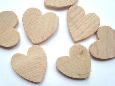 Wood 25mm Hearts Craft Shape x1