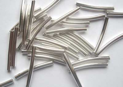 Heishi 20mm Curved Tube Silver Plated x10