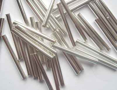 Heishi 15mm Straight Tube Silver Plated x10