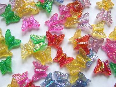 Mixed Plastic Butterfly Beads x5