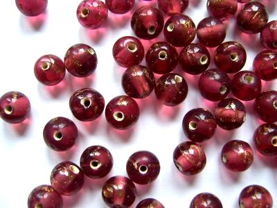 Cranberry Gold 8mm Round Beads x5
