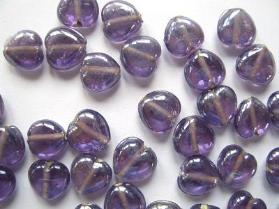 Lustred Lavender 13mm Heart Beads x10